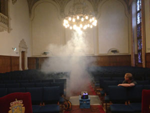 Smoke tests are an excellent way of monitoring air circulation in the Aula of the Academy building.
