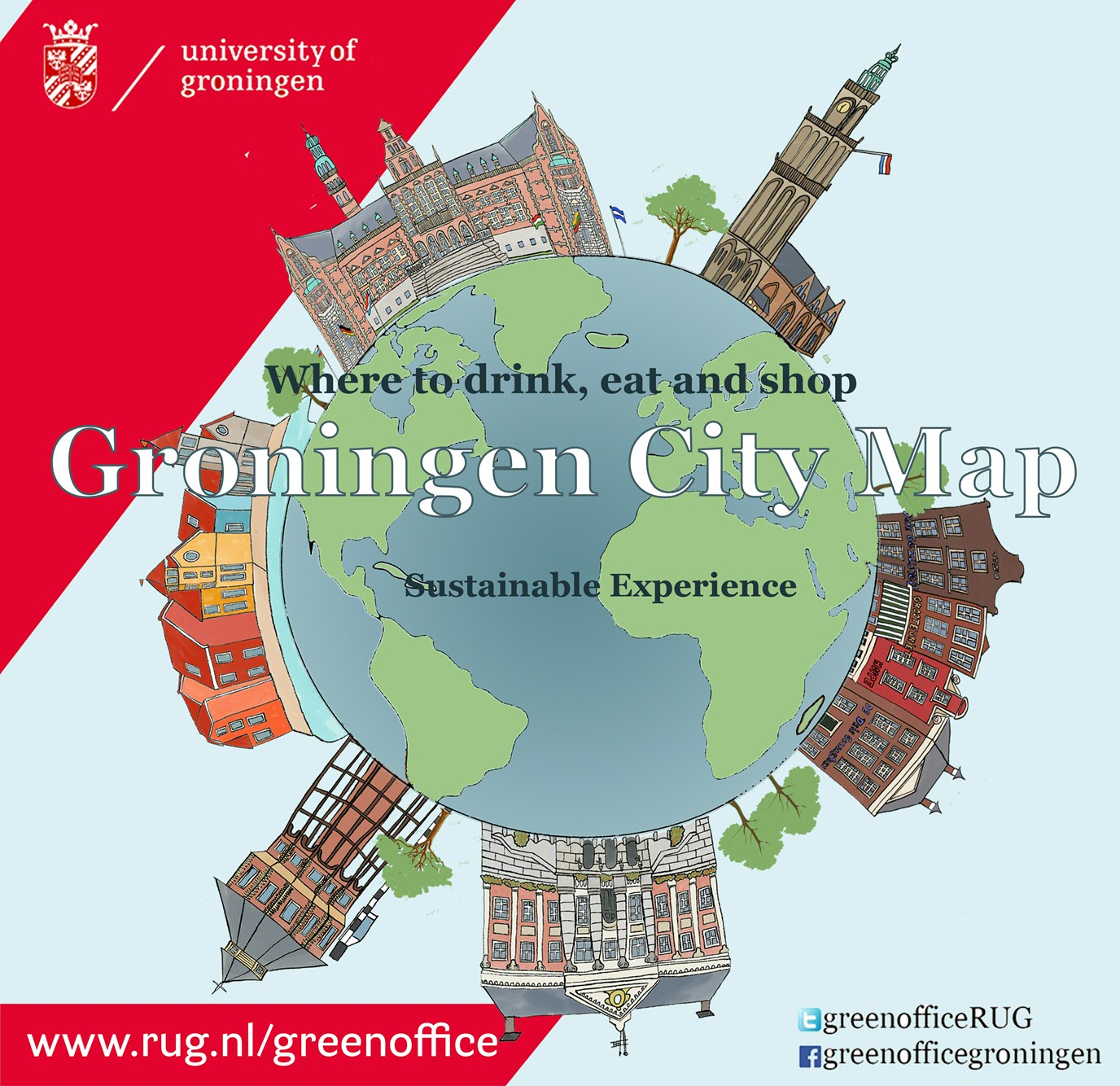Green Office map shows sustainable shops restaurants in Groningen