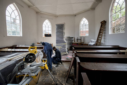 Restoration work being carried out on the Doopsgezinde church in Middelstum