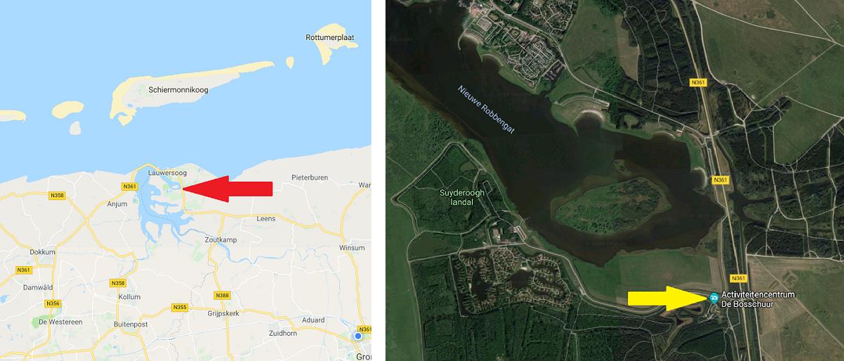 Lauwersmeergebied met locatie van activiteitencentrum De Bosschuur