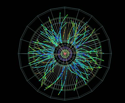 Visualization of tracks traversed by subatomic particles
