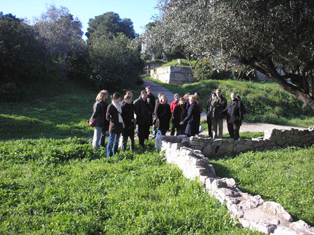 Participants of the U4 Winter School at the classical Kerameikos Cemetery, Athens