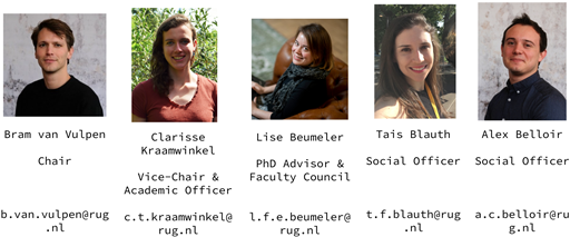 PhD Council 2020-2021: Bram, Clarisse, Lise, Tais, Alex