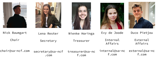 Study Association Board 2020-2021: Nick, Lena, Nienke, Evy, Duco