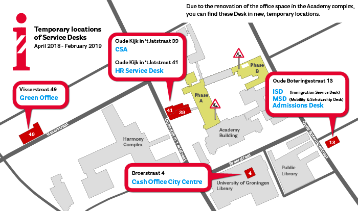 Overview of the temporary locations Service Desks