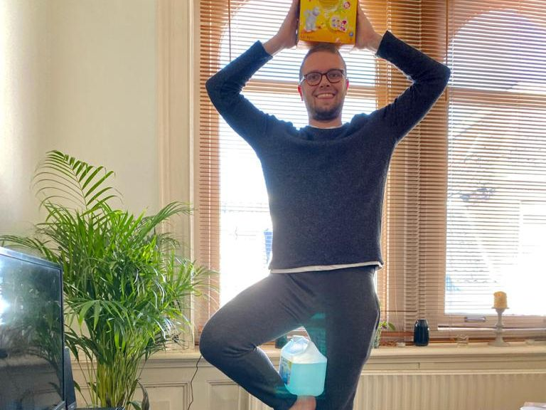 The 'balancing laundry detergent while attempting yoga' challenge
