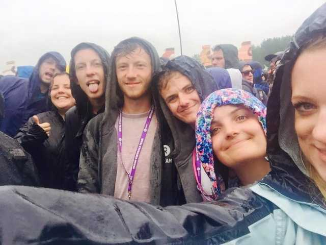Enjoying a very rainy Glastonbury festival
