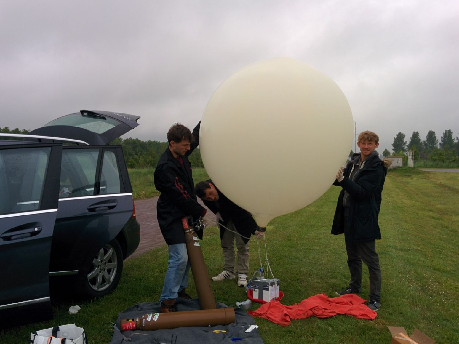 Some of my group and I setting up the first launch