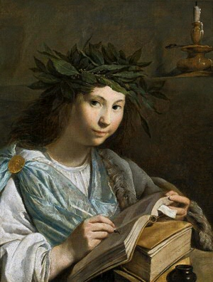 painting of girl with book