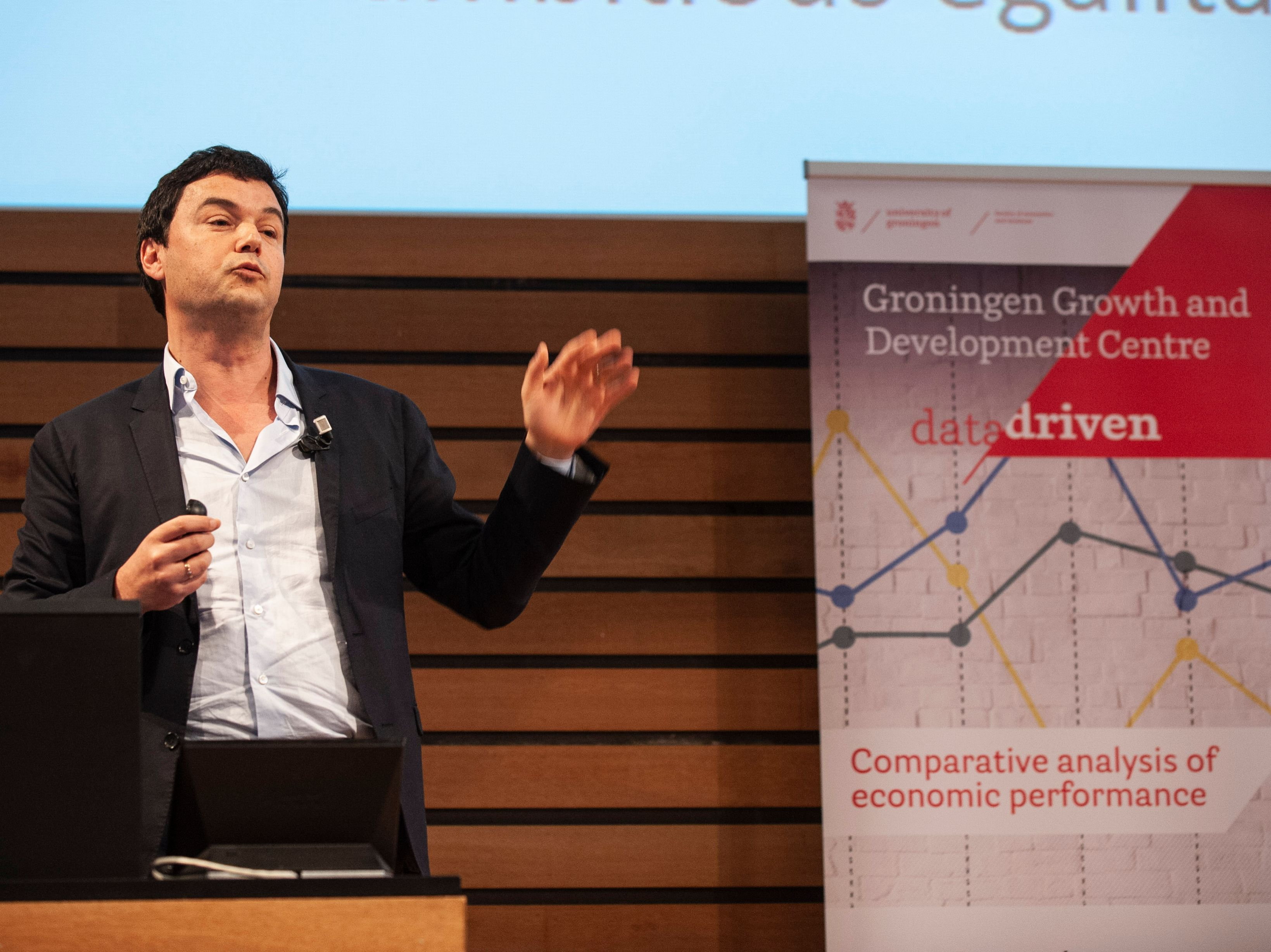 Leading economist Thomas Piketty addressing students and staff of the University of Groningen in May.