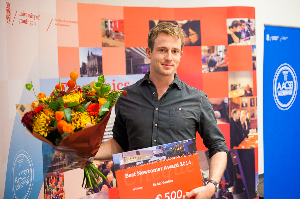 Best Newcomer of the year, lecturer Dr Michiel Gerritse