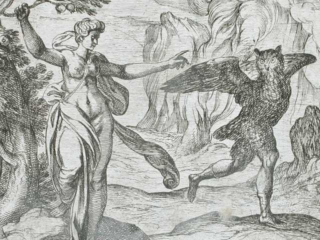 Wihelm Janson and Antonio Tempest, Proserpina Turning Ascalaphus into an Owl (Public Domain)