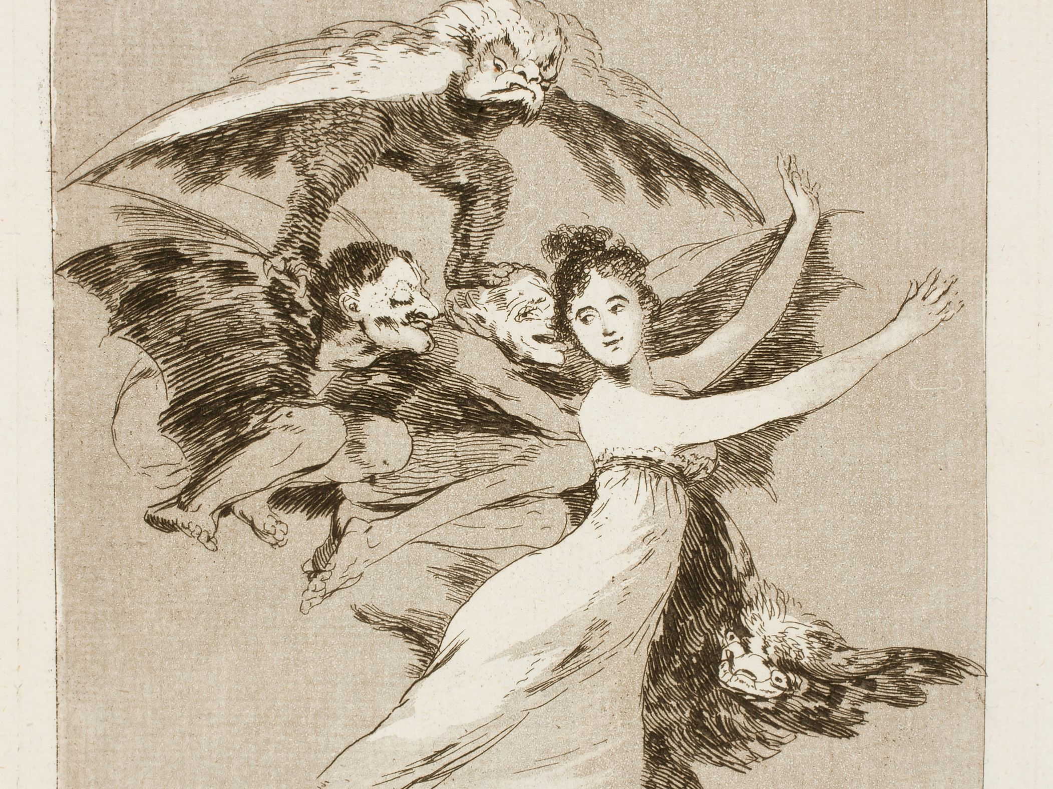 Francisco de Goya, Los Caprichos 72, No te escaparas. Wikimedia commons