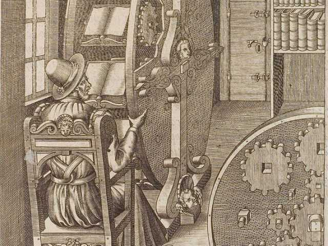 Figure CLXXXVIII in Le diverse et artificiose machine del Capitano Agostino Ramelli, an illustration of a bookwheel (1588)