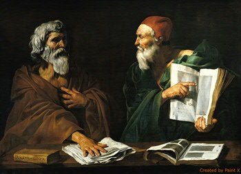 The Philosophers (oil on canvas) by Master of the Judgment of Solomon (fl.1620-1620)