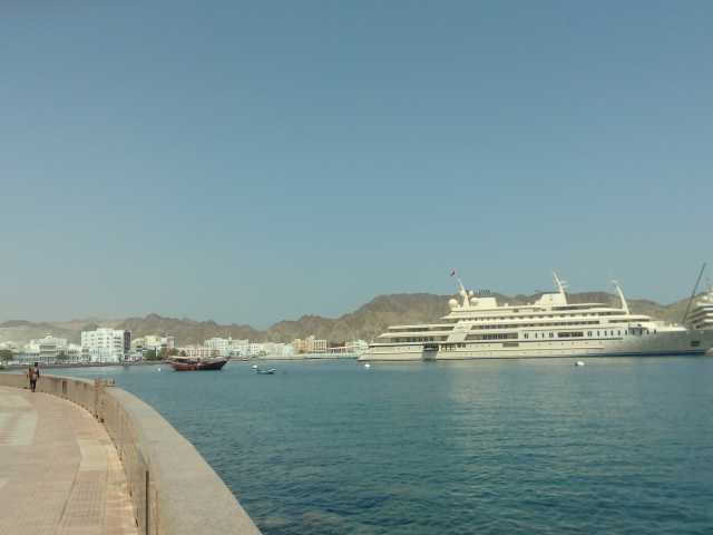 Masqat in all its glory. The yacht is property of Sultan Qaboos