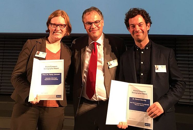 Fanny Janssen (left) and Kieron Barclay (right) with their awards