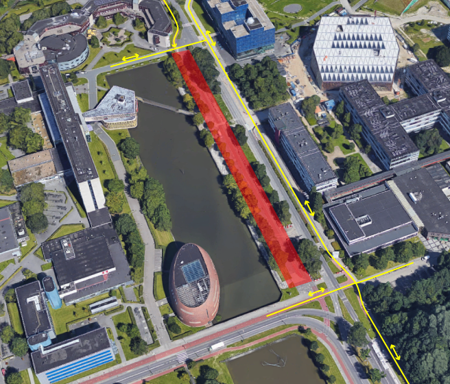 The area highlighted in red will shortly be closed to all bicycle traffic. Cyclists can use the two-way bicycle path to the east of the Zernikelaan instead.