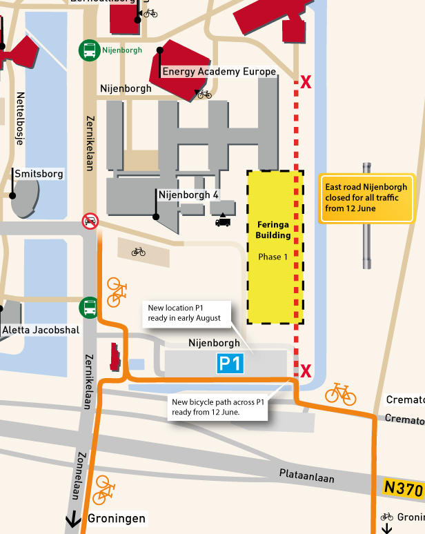 Overview of the changes to the bycicle routes on the Zernike Campus Groningen