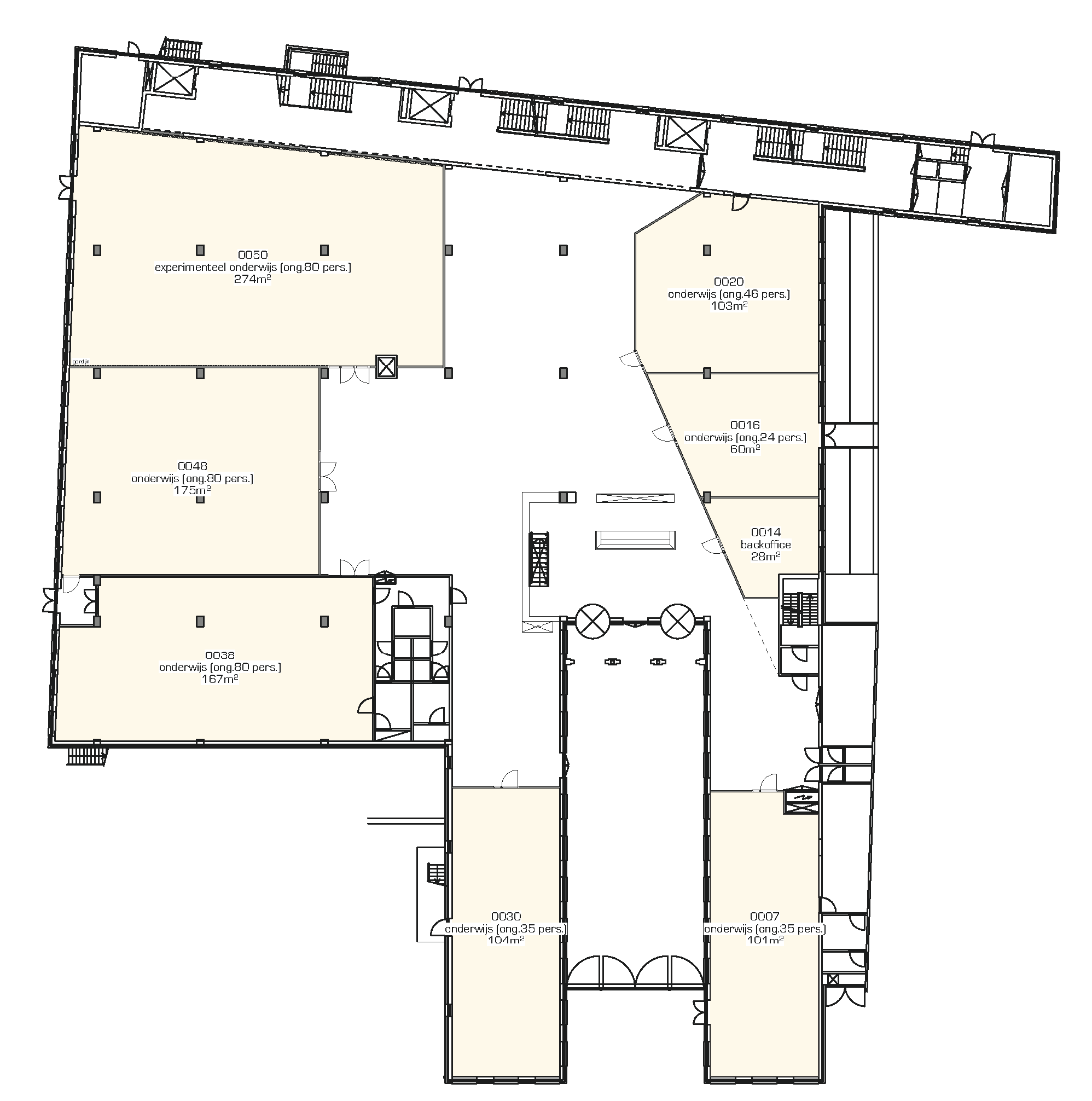 Floor plan of the ground floor with additional classrooms