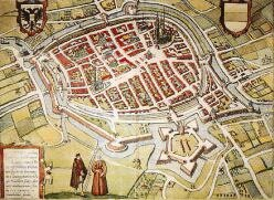 Map of Groningen 1575. Alba's fort is visible on the south side (G.Braun and F.Hogenberg)