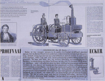 Article on Stratingh's steam vehicle by ir. W. Kooijmans, drawing by N. Scholten