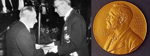 Frits Zernike receives the Nobel Prize (left) and Zernike's Nobel medal (right)