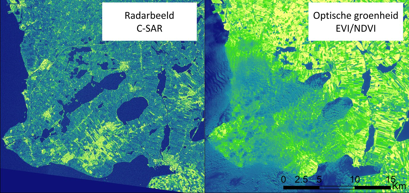 Figure 2: Comparing between optical and radar imagery. Sentinel 1 radar imagery measures surface roughness and are free from cloud interference, (08 June 2016). Photo credits: Ruth Howison