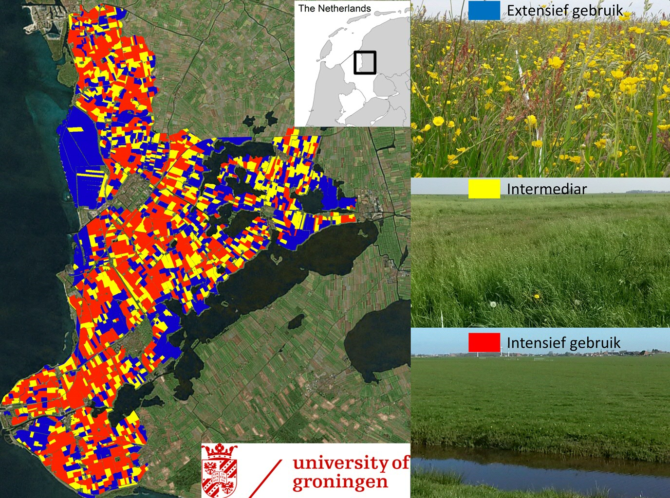 Figure 1: Summarizing the variation in 'surface roughness', captured by the ESA radar coverages, we accurately estimate both land use intensity and plant community composition, verified with extensive ground surveys. Photo credits: Map and photos by Ruth Howison