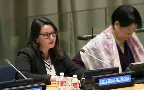 Lucia Berro Pizzarossa (left) speaks at UN session