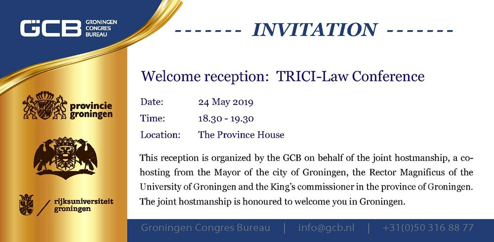 Invitation for Welcome Drinks TRICI-Law Conference