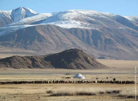 The Altai Mountains in Western Mongolia