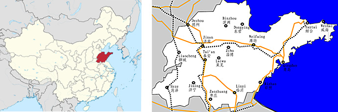 Map of China with Shandong province and Yantai