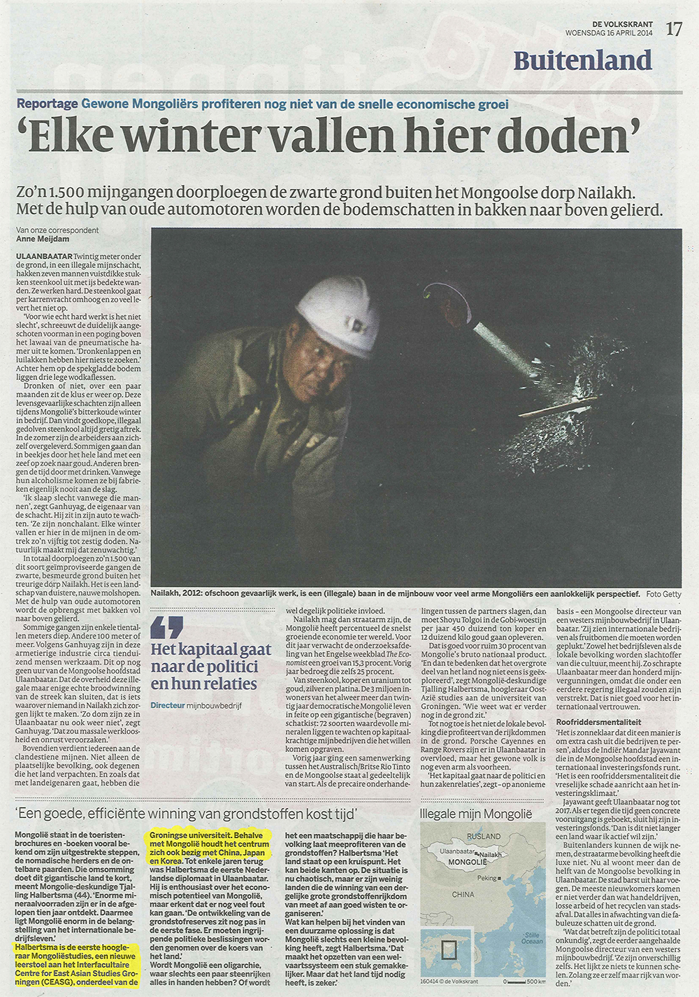 CEASG in de Volkrant 16 April 2014