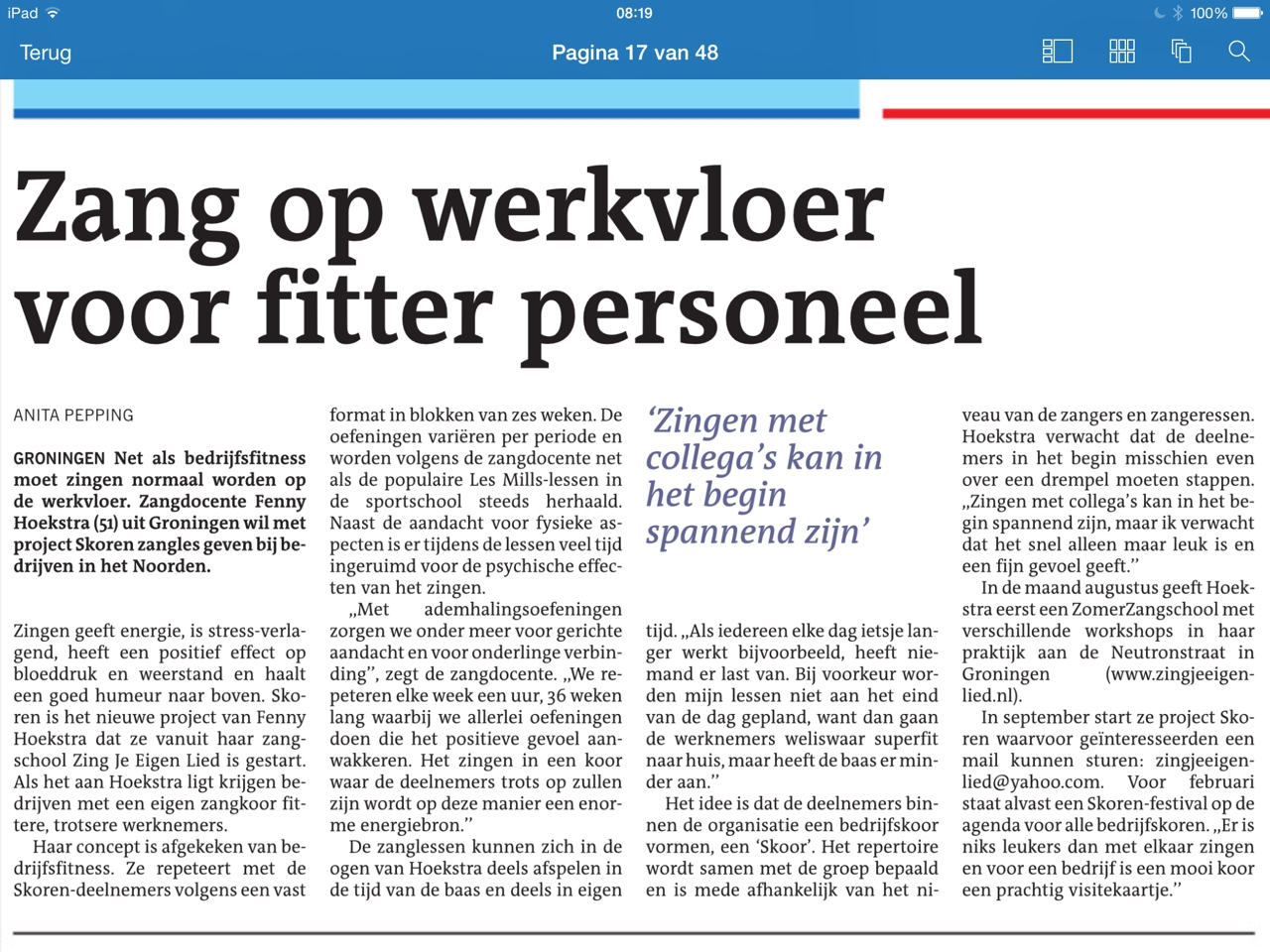 Article about singing at work (in Dutch)