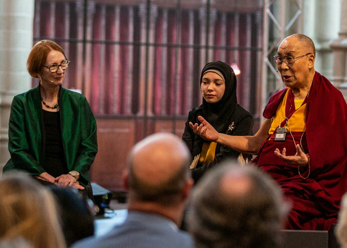 Dr  Jeantine Lunshof in dialogue with the Dalai Lama