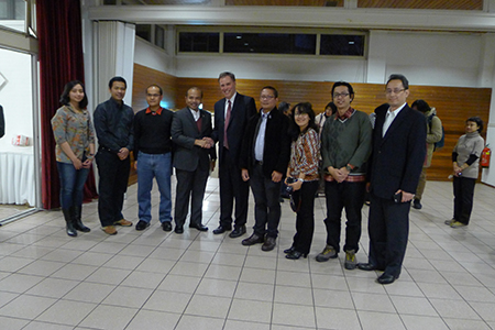 Indonesian Minister of Planning Mr. Andrinof Chaniago, greeting the SInGA PhD research candidates and its Director, Ronald Holzhacker, with the Acting Indonesian Ambassador Mr. Ibnu Wahyutomo at the Embassy on Saturday 7 March 2015.