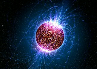 A neutron star is a very dense remnant of a dead star. The pressure from degenerate neutrons prevents the star from collapsing. It has strong magnetic fields and some of them rotate very fast with more than one rotation per second. Image credit: Casey Reed (Penn State University)