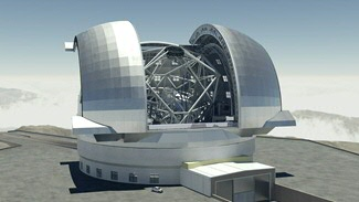 The European extremely large telescope is the next big step forward in optical and IR astronomy. Expected to receive first light in 2024 it will have a 39m diameter mirror. It will be build in Chili and due to adaptive optics it is expected to have 16x better resolution than the Hubble space telescope. Image credit: Swineburn Astronomy Productions/ESO