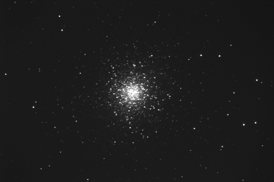 The first shot made with the new telescope. This image is from the beautiful globular cluster Messier (M13). There is no focus, no tracking and the 60-second-observation has not been edited.