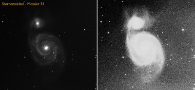 A shot of the Whirlpool Galaxy (M51). This is a galaxy like our own galaxy and contains several hundred billions of stars. The right and the left image are made from the same observation, only the right image did have image processing where the eakest parts have been brought forward.