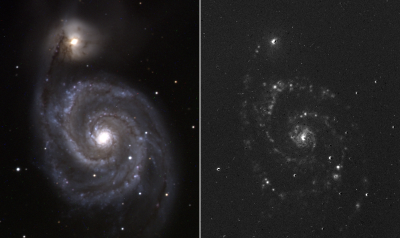 The night of April 18-19 was of such an irresistible observing quality, that Marc Verheijen went to the Gratama telescope to see whether is was possible to do an H-alpha observation of a nearby galaxy. The M51 system became the target. The observation lasted 4x30 minutes in the B-band, 3x30 minutes in the V-band, 2x30 minutes in the R-band and 4x30 minutes in the H-alpba band. On the left you can see the produced colour image and on the right the system in H-alpha radiation. Numerous H-alpha areas can be made visible with the Gratama telescope. In these areas there is ionized hydrogen gas.