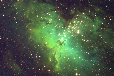 Here we have a recording of the Eagle Nebula, a star formation area in the Milky Way. The 'false colours' show how the hydrogen gas, oxygen gas, sulphur gas and dust are distributed. A group of newly formed bright stars is located right above the centre. These stars are lighting up the gas clouds in the nebula. In order to create this image, the CCD was illuminated 2x30 minutes though the [OIII] filter (blue), 1x30 minutes though the H-alpha filter (green) ans 2x30 minutes though the [SII] filter (red).