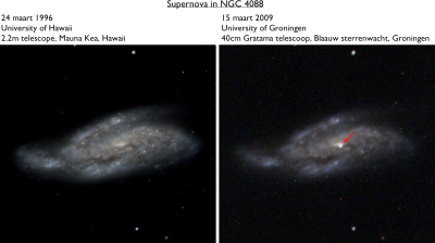 Zoomed version of system NGC 4088 of the image below (right), compared with a previous image of the same system (left) when the supernova was not yet at the same spot as shown in the right image.