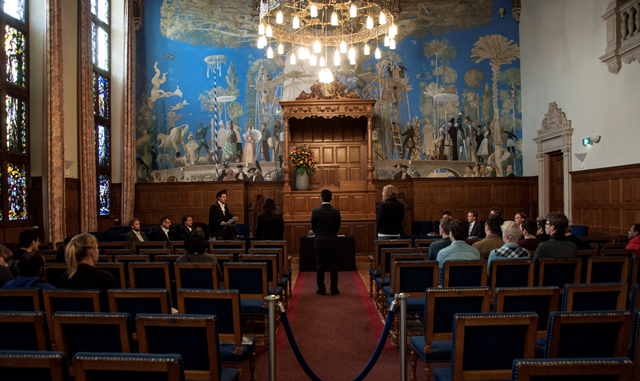 The ceremony takes place in the Aula