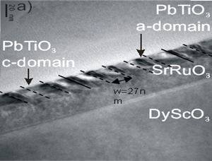 Figure 3. Very thin a-domains with a well-defined and very small width of 6 nm are observed by TEM. (Image by Sriram Venkatesan)