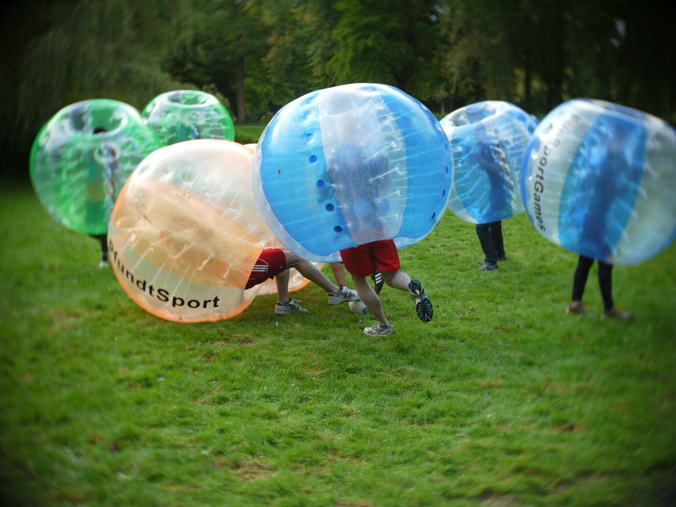 Our team in action during the bubble-soccer deathmatch action