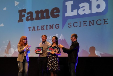 FameLab winners (with chair of the jury and presentor) | Photo Science LinX