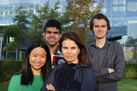 "The ""Hafnia team"" within the Nanostructures of Functional Oxides group, Zernike Institute for Advanced Materials, University of Groningen. From left to right: Yingfen Wei, Pavan Nukala, Beatriz Noheda and Mart Salverda. 
