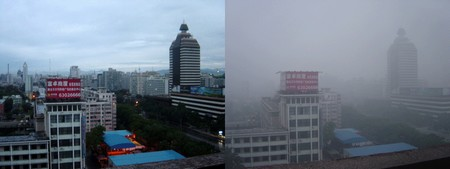Beijing after a few days of rain (left) and full of smog | Bobak, Wikimedia